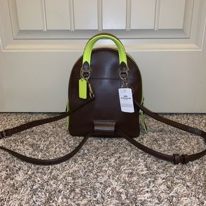 Coach Bags - Coach brown and neon backpack and wallet